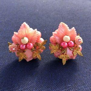 Vintage pink beaded clip earrings